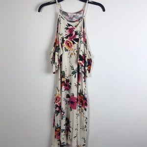 ODDY-Cold shoulder floral dress